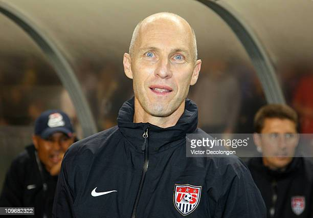 Head Coach Bob Bradley of the United States looks on from the bench area just prior to the International Men's Friendly match against Chile at The...