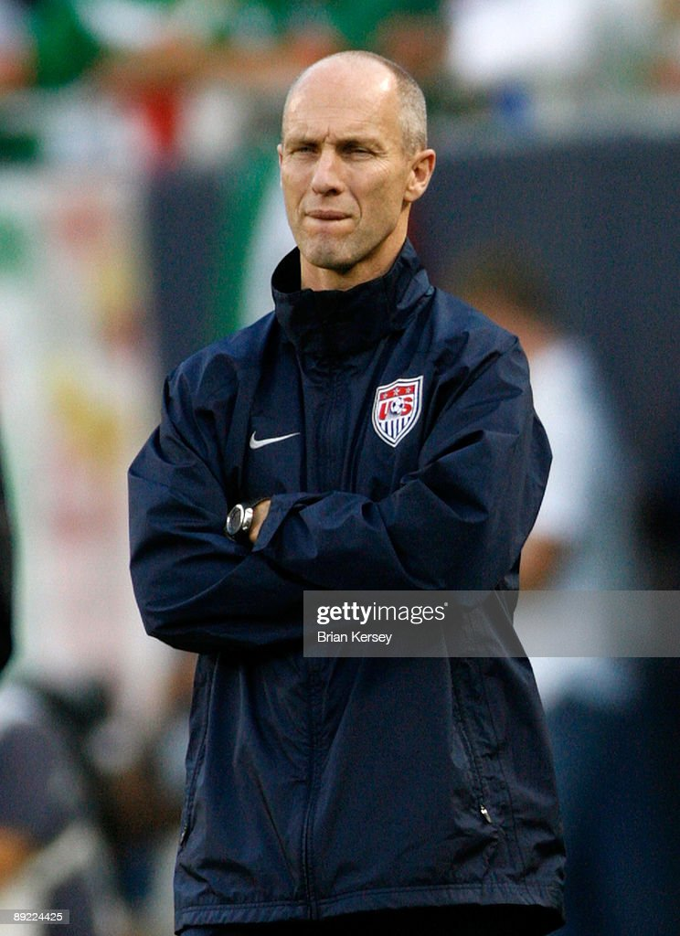 Head coach Bob Bradley of the USA looks on against Honduras during their CONCACAF Cup Semifinal match at Soldier Field on July 23, 2009 in Chicago, Illinois.