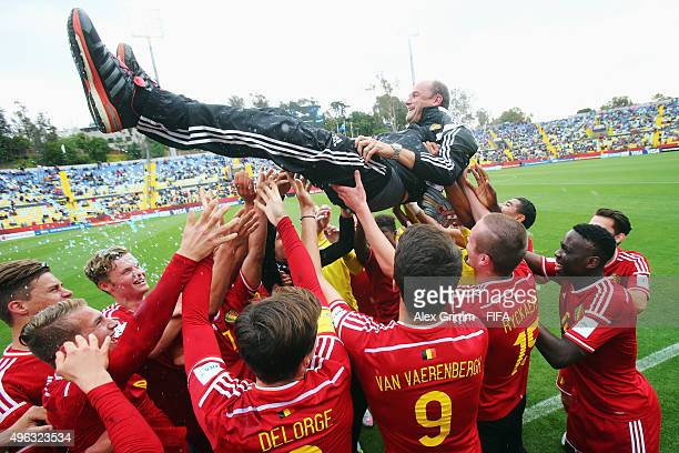Head coach Bob Browaeys of Belgium celebrates with his players after the FIFA U-17 World Cup Chile 2015 Third Place Play-Off match between Belgium...