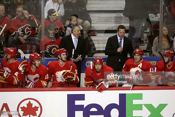 Head Coach Bob Hartley and Assistand Coach Martin Gelinas of the Calgary Flames at Scotiabank Saddledome on April 3 2013 in Calgary Canada