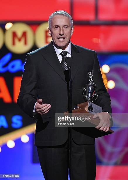 Head coach Bob Hartley of the Calgary Flames accepts the Jack Adams Award during the 2015 NHL Awards at MGM Grand Garden Arena on June 24 2015 in Las...