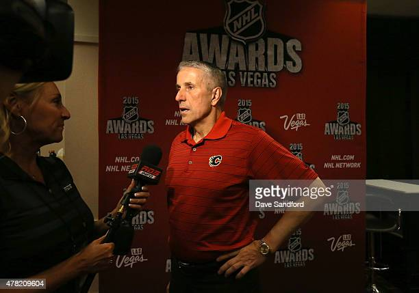 Head Coach Bob Hartley of the Calgary Flames attends the 2015 NHL Awards nominee media availability at the MGM Grand Garden Arena on June 23 2015 in...