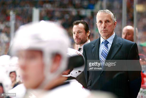 Head coach Bob Hartley of the Calgary Flames looks on from the bench during Game Five of the Western Conference Quarterfinals against the Vancouver...
