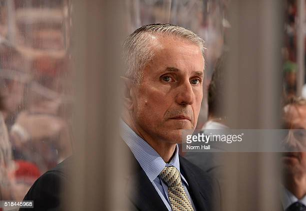 Head coach Bob Hartley of the Calgary Flames looks on from the bench against the Arizona Coyotes at Gila River Arena on March 28 2016 in Glendale...