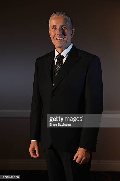 Head Coach Bob Hartley of the Calgary Flames poses for a portrait during the 2015 NHL Awards at the MGM Grand Garden Arena on June 24 2015 in Las...