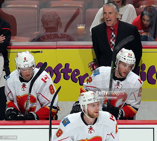 Head coach Bob Hartley of the Calgary Flames works from behind the bench against the Anaheim Ducks in Game One of the Western Conference Semifinals...