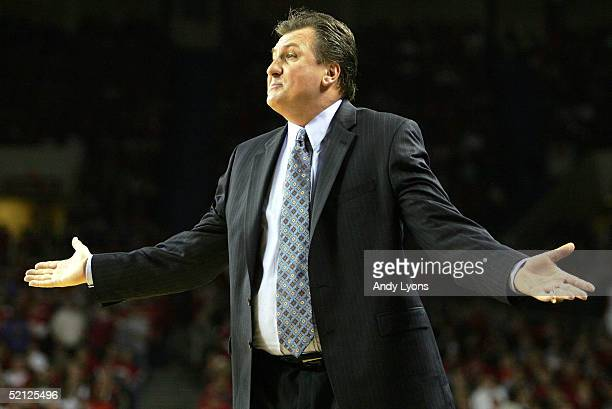 Head coach Bob Huggins of the Cincinnati Bearcats reacts to a call during a game against the Louisville Cardinals on February 2, 2005 at Freedom Hall...