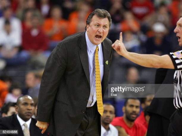 Head coach Bob Huggins of the Cincinnati Bearcats reacts to a call by a referee against the Kentucy Wildcats in the second round game of the NCAA...