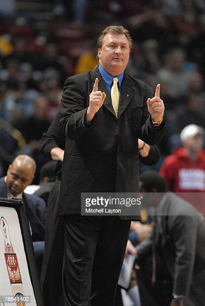 Head Coach Bob Huggins of the West Virginia Montaineers gestures from the sideline during a game against the Auburn Tigers in the SEC/Big East...