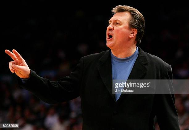 Head coach Bob Huggins of the West Virginia Mountaineers gestures from the sidelines against the Connecticut Huskies during day two of the 2008 Big...