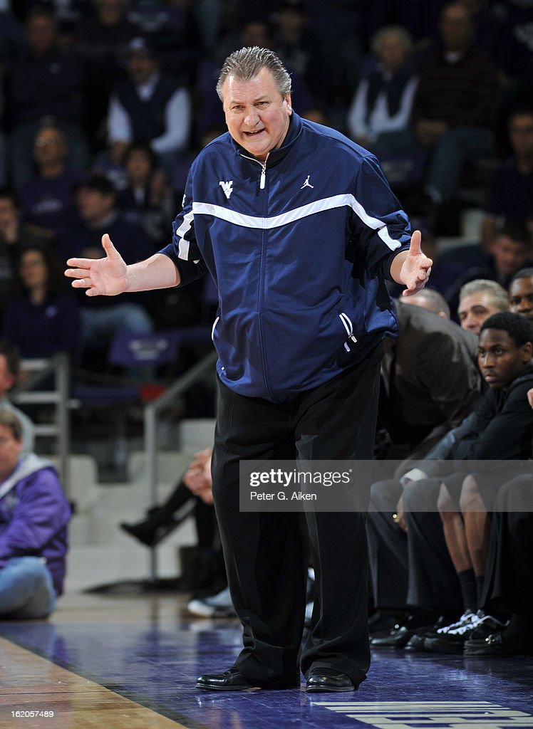 Head coach Bob Huggins of the West Virginia Mountaineers reacts after a play during the first half against of the Kansas State Wildcats on February 18, 2013 at Bramlage Coliseum in Manhattan, Kansas. Kansas State defeated West Virginia 71-61.