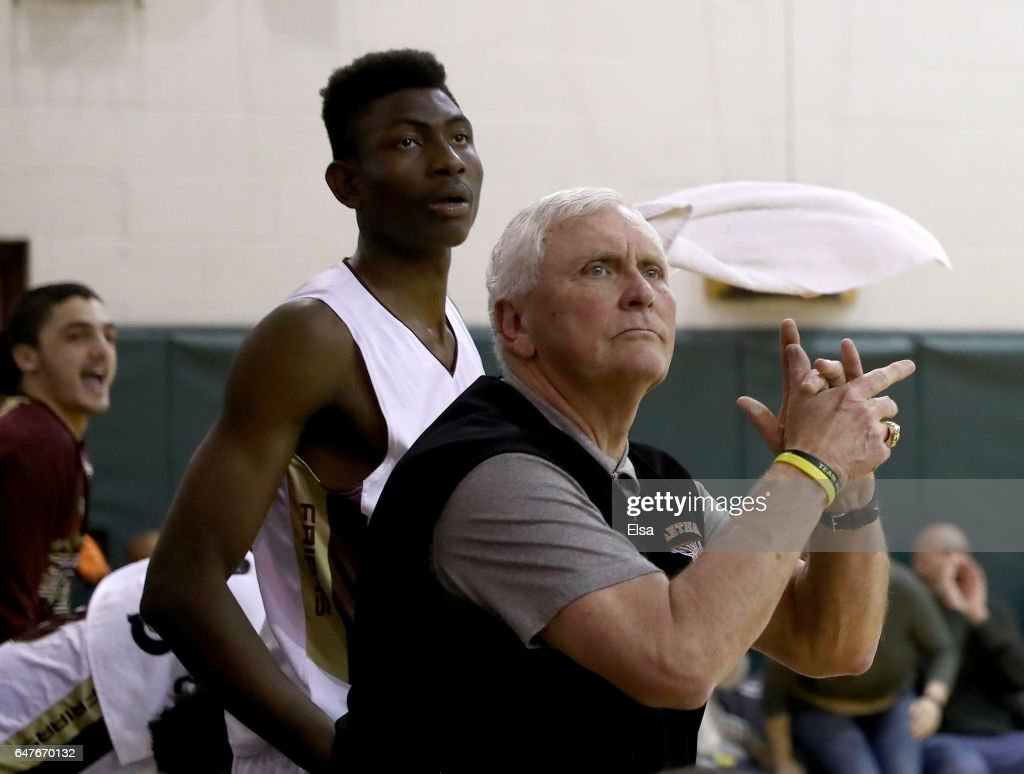 Head coach Bob Hurley of the St. Anthony Friars celebrates from the bench during the game against the Monclair Immaculate Lions during the 2017 NJSIAA Boy's Basketball North B Tournament Quarterfinals at C.E.R.C. on March 3, 2017 in Jersey City, New Jersey.The St. Anthony Friars defeated the Monclair Immaculate Lions 66-52.