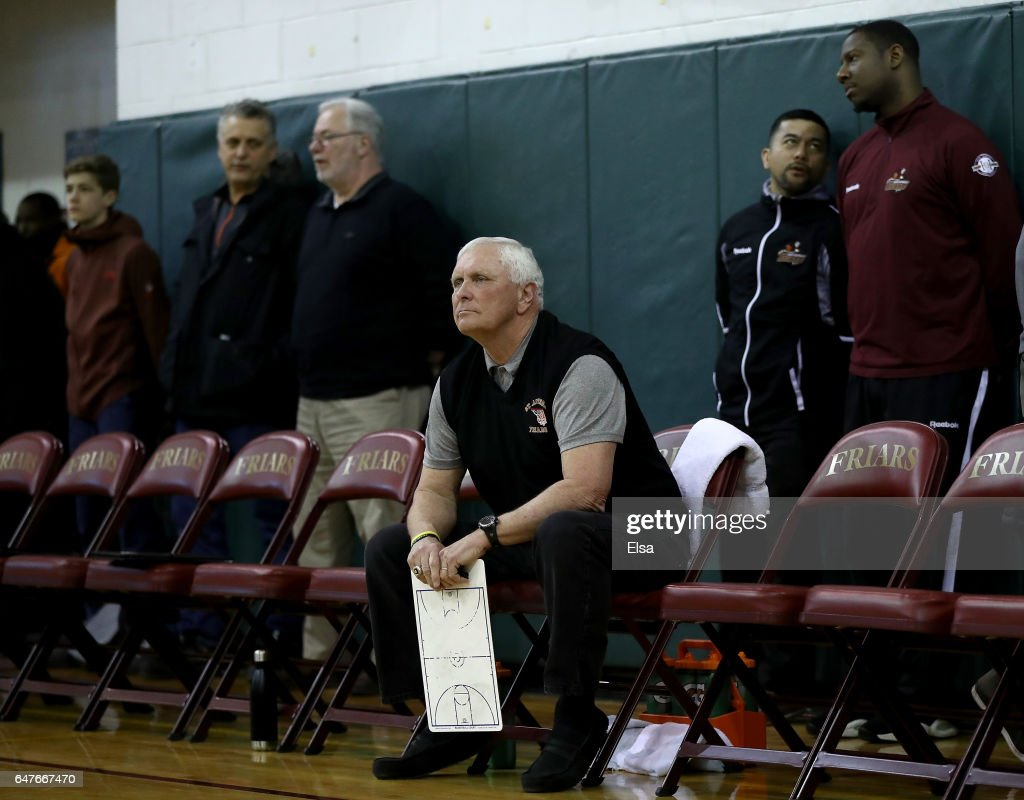 Head coach Bob Hurley of the St. Anthony Friars looks on from the bench before the game against the Monclair Immaculate Lions during the 2017 NJSIAA Boy's Basketball North B Tournament Quarterfinals at C.E.R.C. on March 3, 2017 in Jersey City, New Jersey.The St. Anthony Friars defeated the Monclair Immaculate Lions 66-52.