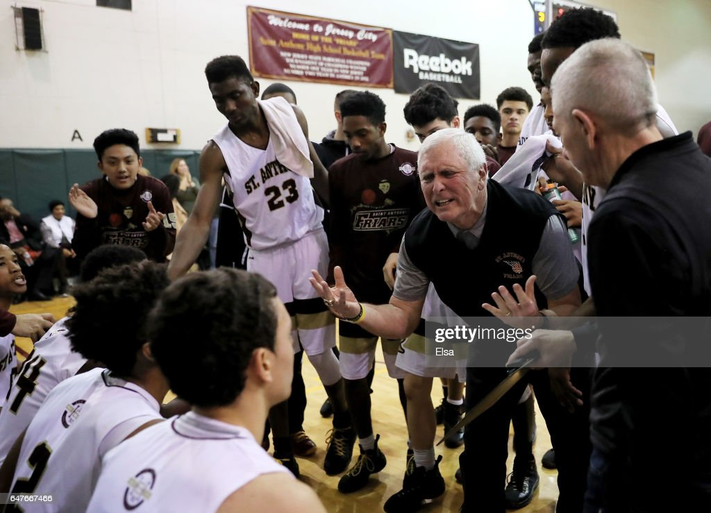 Head coach Bob Hurley of the St. Anthony Friars talks with his players during a time out in the first half against the Monclair Immaculate Lions during the 2017 NJSIAA Boy's Basketball North B Tournament Quarterfinals at C.E.R.C. on March 3, 2017 in Jersey City, New Jersey.The St. Anthony Friars defeated the Monclair Immaculate Lions 66-52.