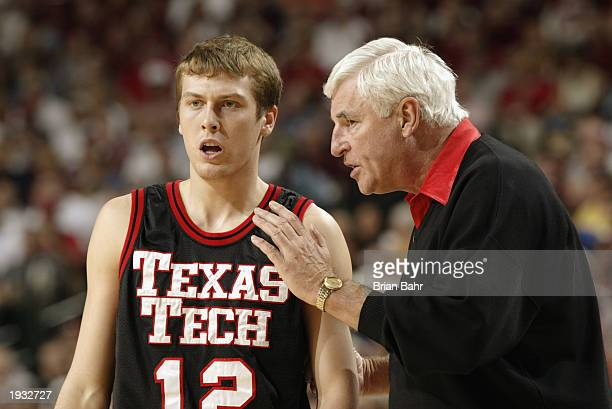 Head coach Bob Knight of Texas Tech talks to Nathan Doudney during the Big 12 Championships against Oklahoma at the American Airlines Center March 15...