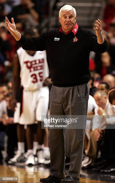 Head coach Bob Knight of the Texas Tech Raiders reacts on the sideline during the game against the Oklahoma State Cowboys on January 8, 2005 at the...