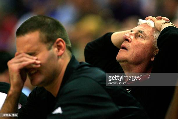 Head coach Bob Knight of the Texas Tech Red Raiders and head coach designee and son Pat Knight react after a missed basket during the quarterfinal...