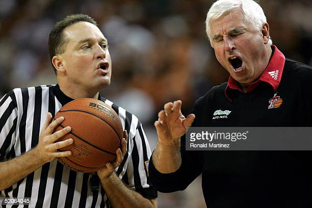 Head coach Bob Knight of the Texas Tech Red Raiders argues a call with an official during play against the Texas Longhorns January 25, 2005 at the...