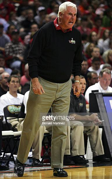 Head coach Bob Knight of the Texas Tech Red Raiders reacts during play against the UNLV Rebels at United Spirit Arena on December 28 2006 in Lubbock...