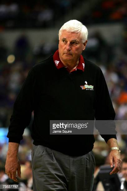 Head coach Bob Knight of the Texas Tech Red Raiders watches from the bench during the quarterfinal game of the Phillips 66 Big 12 Men's Basketball...