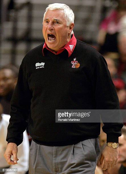 Head coach Bob Knight of the Texas Tech Red Raiders yells during a game against the Texas A&M Aggies on January 15, 2005 at the United Spirit Arena...