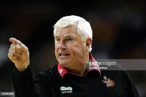 Head coach Bob Knight of the Texas Tech Red Raiders yells during a game against the Texas Longhorns on January 25, 2005 at the Frank Erwin Center in...