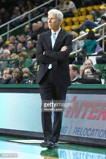 Head coach Bob McKillop of the Davidson Wildcats looks on during a college basketball game against the George Mason Patriots at the Eagle Bank Arena...