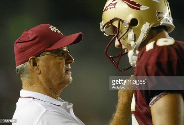Head coach Bobby Bowden and quarterback Chris Rix of Florida State University talk on the sidelines during the game against Georgia Tech on September...