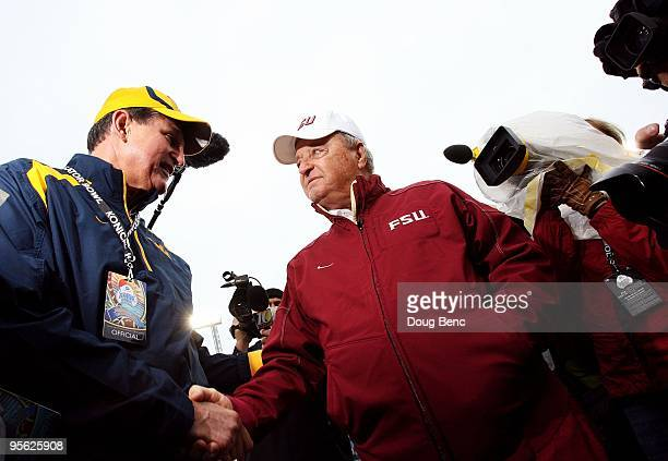 Head coach Bobby Bowden of the Florida State Seminoles is greeted by the Governor of West Virginia, Joe Manchin III, before taking on the West...