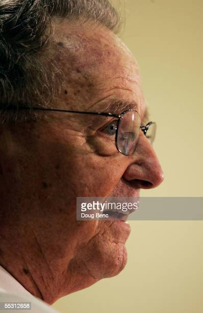 Head coach Bobby Bowden of the Florida State Seminoles talks with reporters after his team defeated the Miami Hurricanes at Doak Campbell Stadium on...