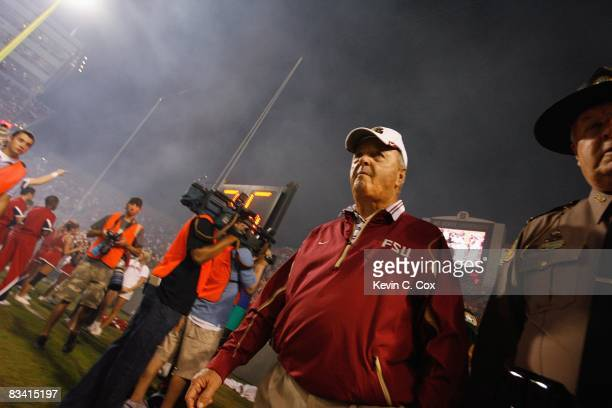 Head coach Bobby Bowden of the Florida State Seminoles walks on the field during the game against the North Carolina State Wolfpack at Carter-Finley...