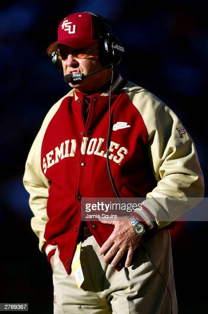 Head coach Bobby Bowden of the Florida State Seminoles watches the action during the game against the Florida Gators on November 29 2003 at The Swamp...