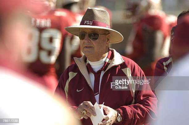 Head coach Bobby Bowden of the Florida State Seminoles watches the game against the Maryland Terrapins November 17, 2007 at Doak Campbell Stadium in...