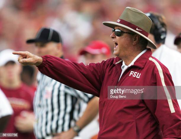 Head coach Bobby Bowden of the Florida State Seminoles yells out instructions to his defense against the North Carolina State Wolfpack at Doak...