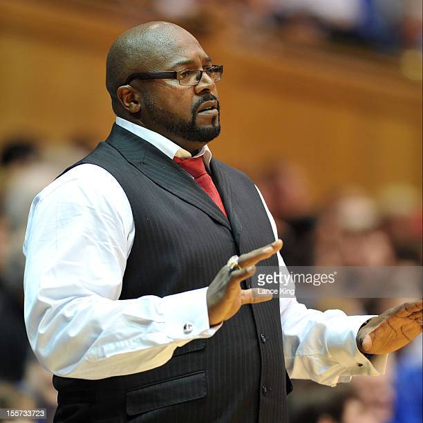 Head coach Bobby Collins of the WinstonSalem State Rams instructs his team from the sideline against the Duke Blue Devils at Cameron Indoor Stadium...