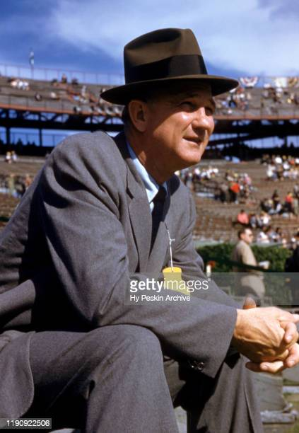 Head coach Bobby Dodd of the Georgia Tech Yellow Jackets sits on sidelines during the 1956 Sugar Bowl Game against the Pittsburgh Panthers on Jauary...