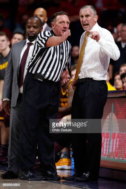 Head coach Bobby Hurley of the Arizona State Sun Devils gestures at official David Hall during the second half of the college basketball game against...