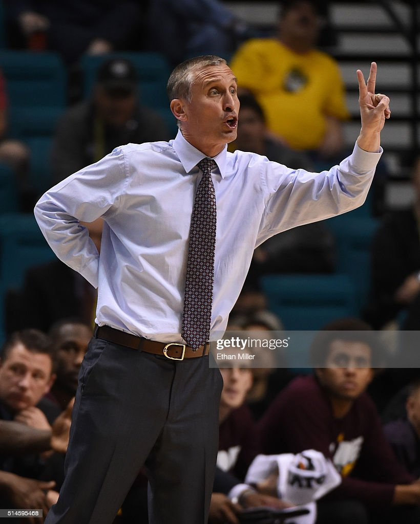 Head coach Bobby Hurley of the Arizona State Sun Devils reacts during a first-round game of the Pac-12 Basketball Tournament against the Oregon State Beavers at MGM Grand Garden Arena on March 9, 2016 in Las Vegas, Nevada. Oregon State won 75-66.