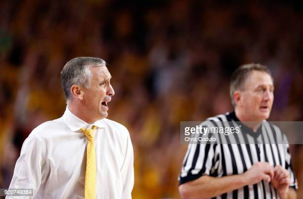 Head coach Bobby Hurley of the Arizona State Sun Devils reacts to a foul call during the second half of the college basketball game against the...