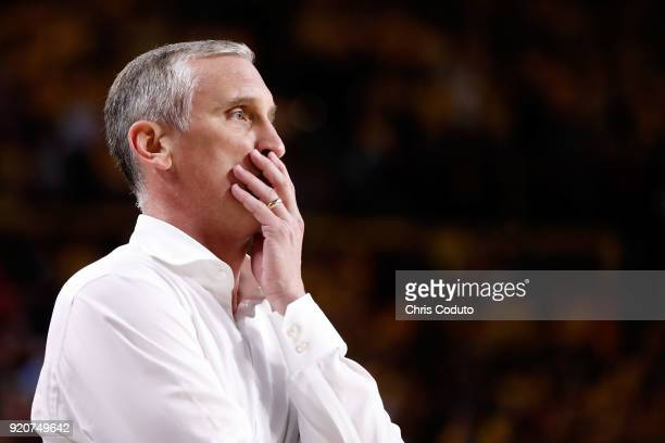 Head coach Bobby Hurley of the Arizona State Sun Devils watches the action during the second half of the college basketball game against the Arizona...