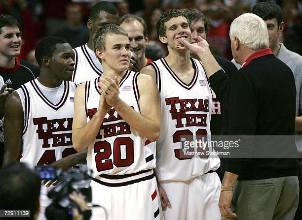 Head Coach Bobby Knight of Texas Tech kids around with Michael Prince druing a ceremony after his team's win over New Mexico at United Spirit Arena...