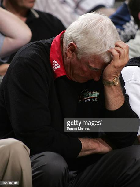 Head Coach Bobby Knight of the Texas Tech Red Raiders sits dejected on the bench during the game against the Texas Longhorns inthe quarterfinals...