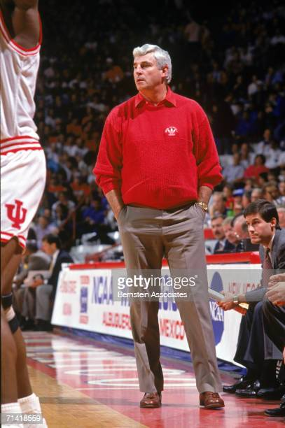 Head coach Bobby Knight of the University of Indiana Hoosiers looks on from courtside during a 1992 season game