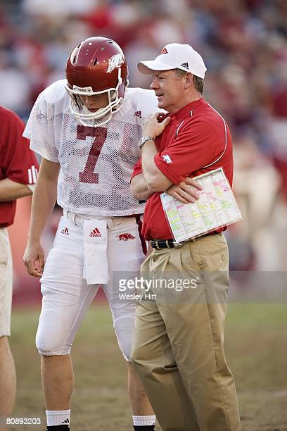 Head Coach Bobby Petrino and Alex Mortensen of the Arkansas Razorbacks during the Spring Red vs White game at Donald W. Reynolds on April 26, 2008 in...