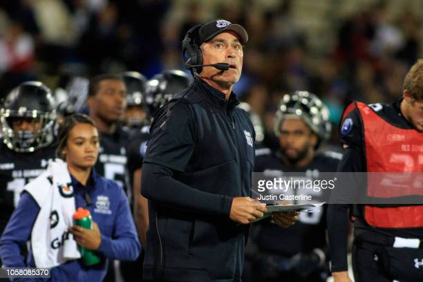 Head coach Bobby Wilder of the Old Dominion Monarchs looks up at the score board in the game against the Western Kentucky Hilltoppers on October 20...