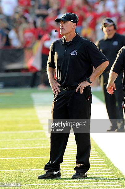 Head coach Bobby Wilder of the Old Dominion Monarchs watches the game against the Maryland Terrapins at Byrd Stadium on September 7 2013 in College...