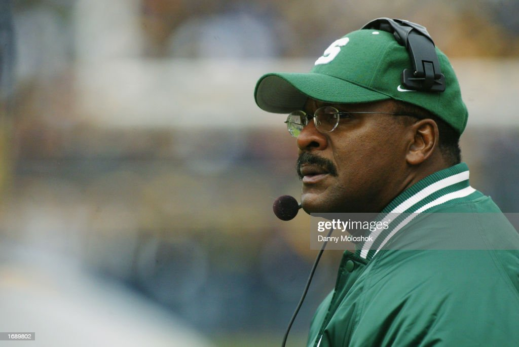 Head Coach Bobby Williams of the Michigan State Spartans looks on from the sidelines during the game against the Michigan Wolverines on November 2, 2002 at Michigan Stadium in Ann Arbor, Michigan. Michigan won 49-3.