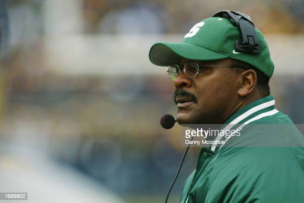 Head Coach Bobby Williams of the Michigan State Spartans looks on from the sidelines during the game against the Michigan Wolverines on November 2...