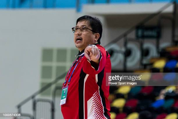 Head coach Bong Ramos of Blackwater Elite reacts during Summer Super 8 game between Blackwater Elite and Samsung Thunders at the Macao East Asian...