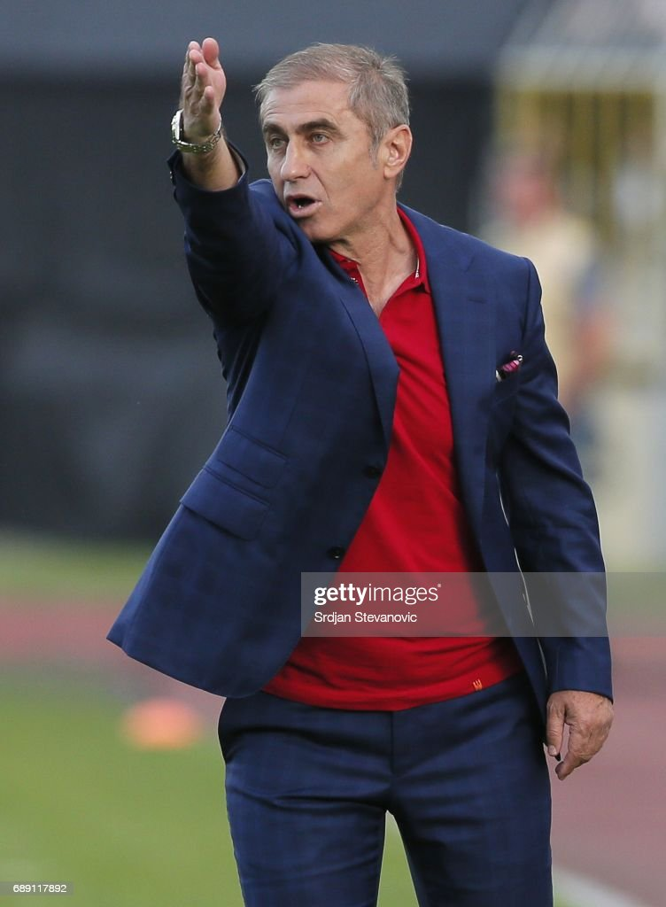 Head coach Bosko Djurovski in action during the final match of Serbian Cup between Fc Partizan and Fc Crvena Zvezda on May 27, 2017 in Belgrade, Serbia.